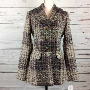 Jessica Simpson Shawl Collar Tweed Coat, Size M